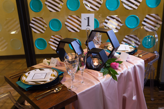 Fun Geometric Sweetheart Table - Photo by Kelly and Logan Photography