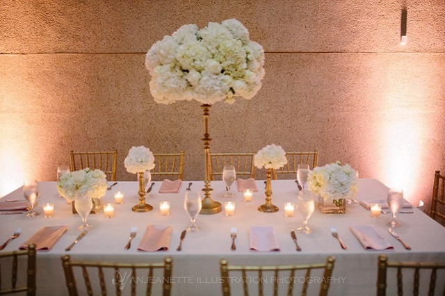Ivory and Blush Table Scape at The Parthenon - Photo by Anjeanette Illustration Photography