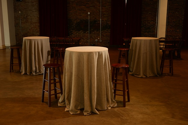 Faux Burlap Bistro Tables and Barstools - Schenk Photography