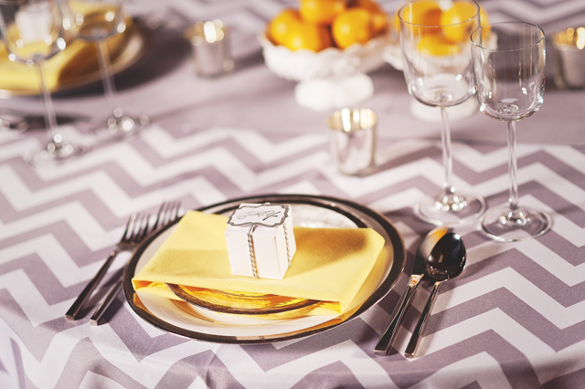 Chevron Linen Place Setting - Photo by Kyle Gregory