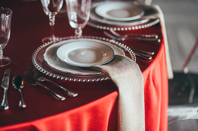 Red and Silver Place Setting at George Jones Museum - Photo by Kyle Gregory