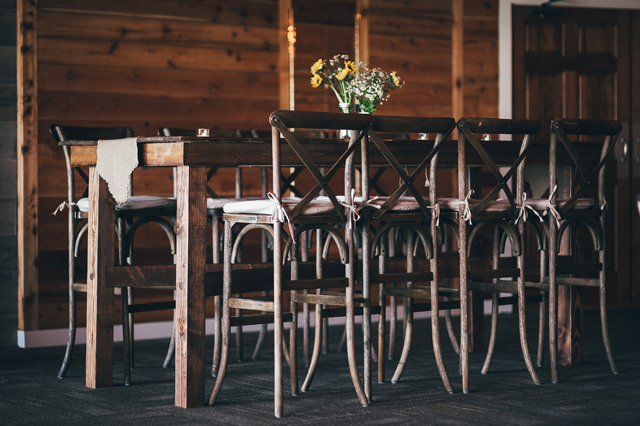 Raised Farm Table and Bentwood Barstools - Photo by Kyle Gregory